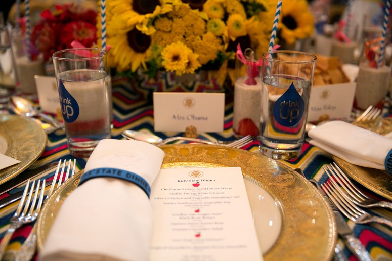 The place setting for the Kids' State Dinner in the East Room of the White House, July 18, 2014. (Official White House Photo by Amanda Lucidon)